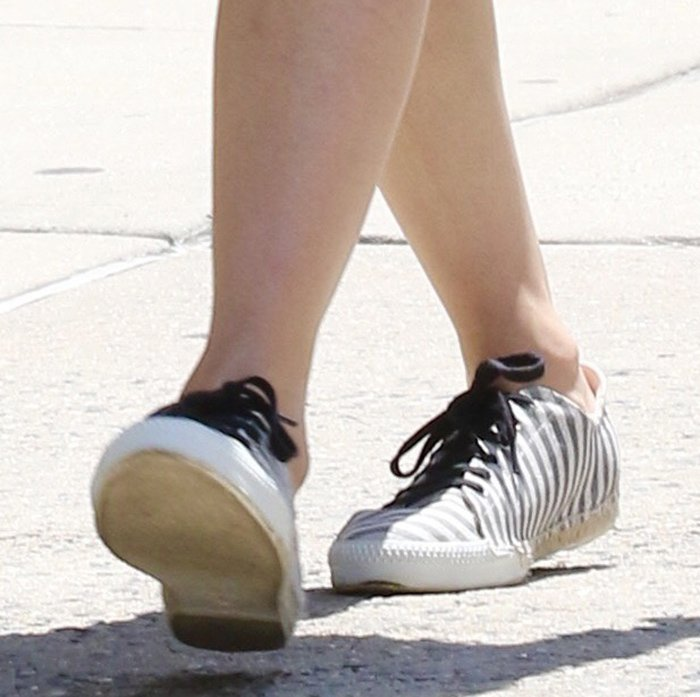 Nicky Hilton completes her summer outfit with the Amanda shoes from her French Sole collection