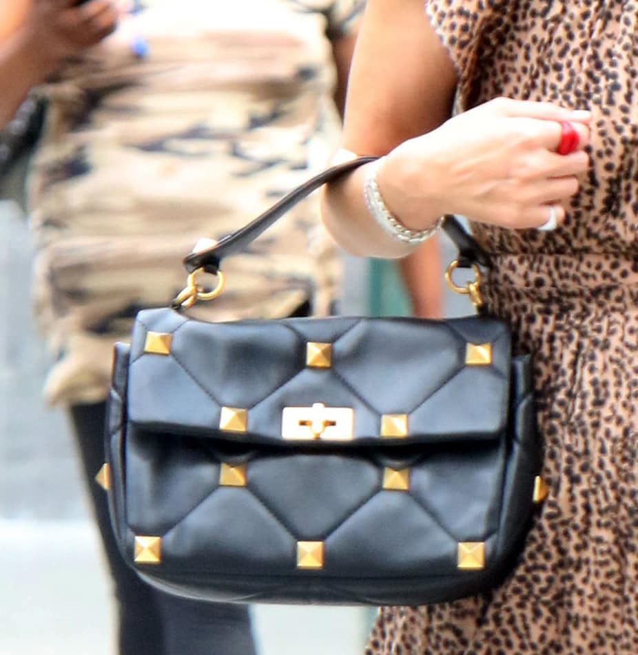 Nicky Hilton carries a Valentino Garavani Roman Stud quilted bag