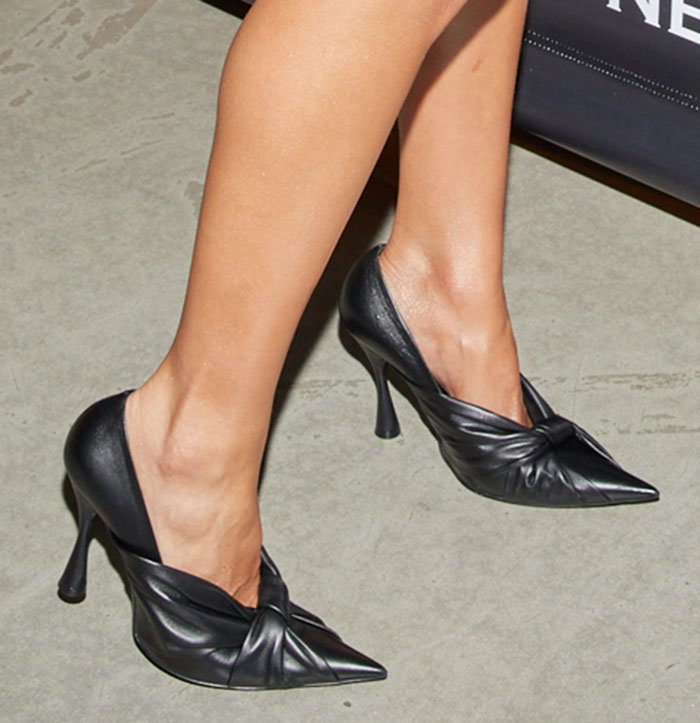 Olivia Culpo shows off her feet in Balenciaga Knife ruched knotted pumps
