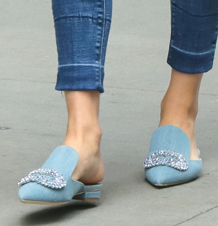 Olivia Palermo finishes off her chic casual look with Giannico Daphne denim mules