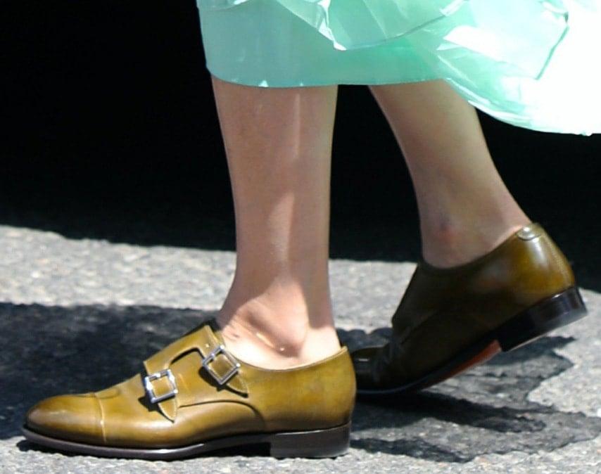 Olivia Palermo teams her feminine dress with Santoni monk-strap loafers