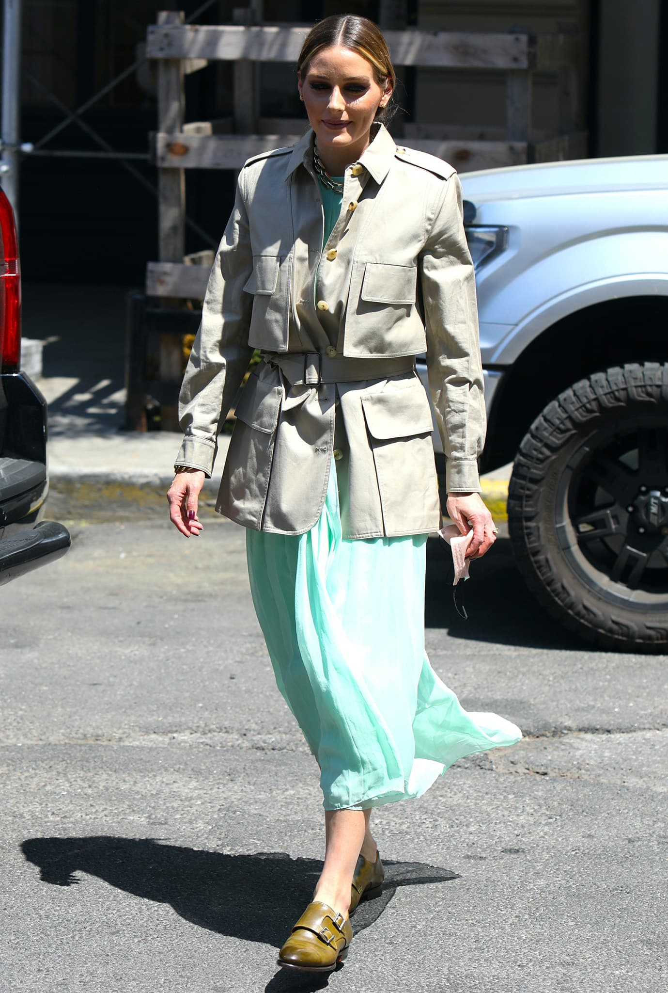 Olivia Palermo teams up with The Sicily Hill candles in a Tibi dress and Max Mara jacket on May 19, 2021
