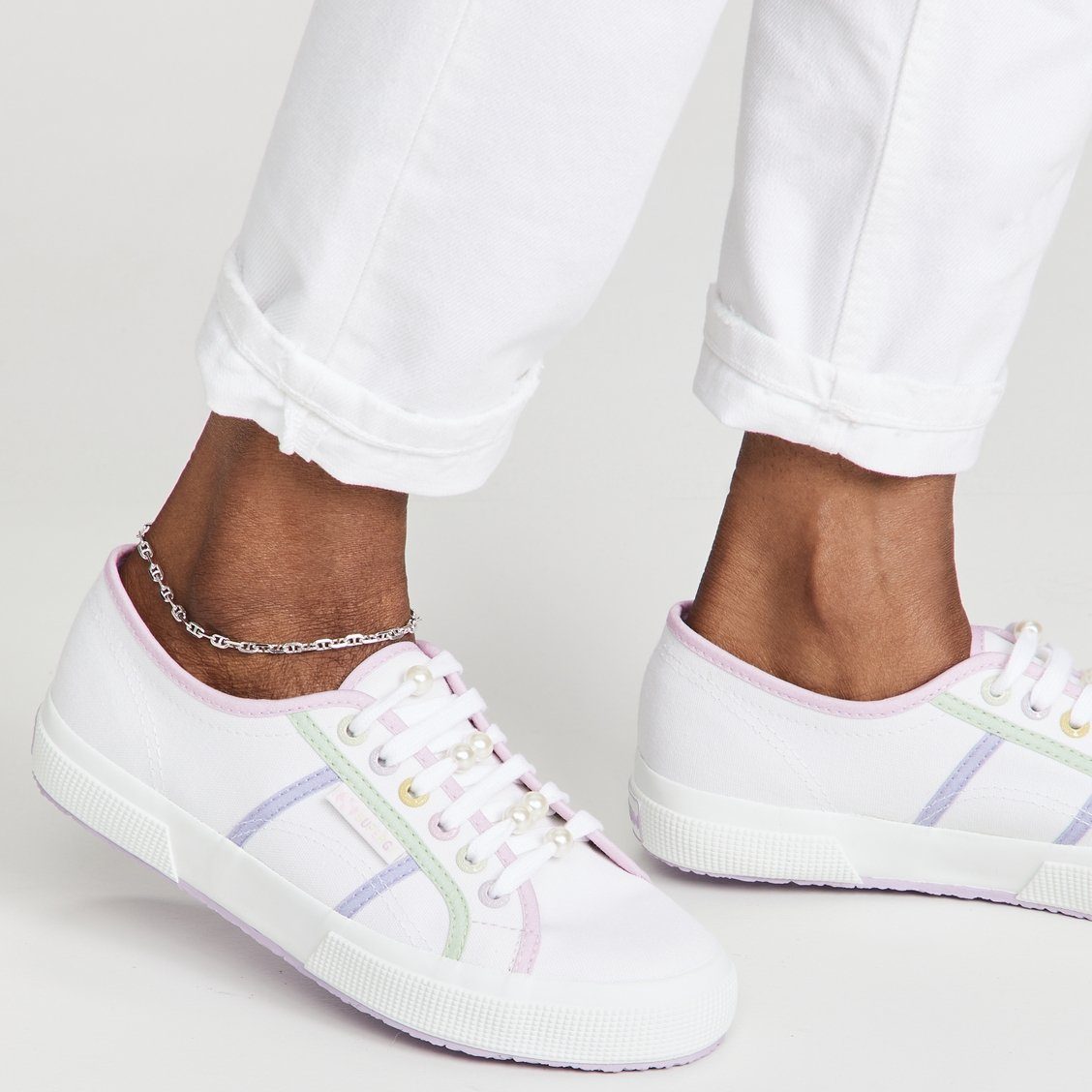 Olivia Rubin x Superga lace-up sneakers with imitation pearl beads