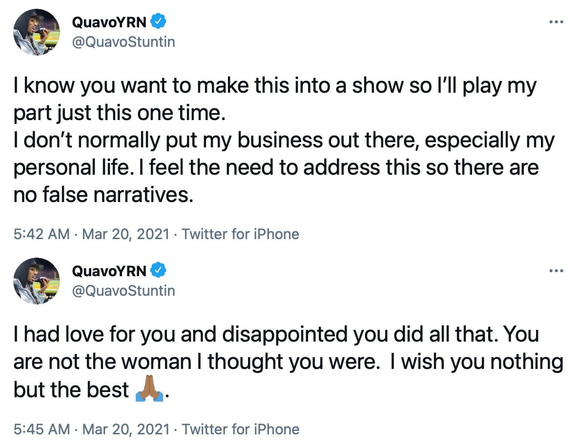Quavo denies cheating allegations following his breakup with Saweetie