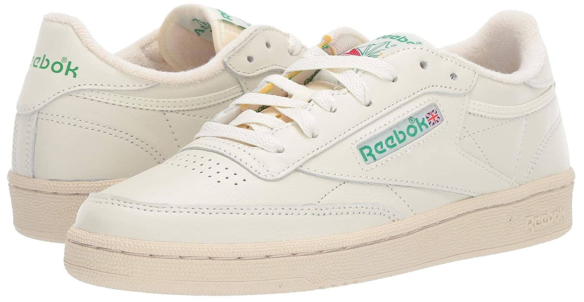 A classic pair of white leather shoes with vintage-effect look