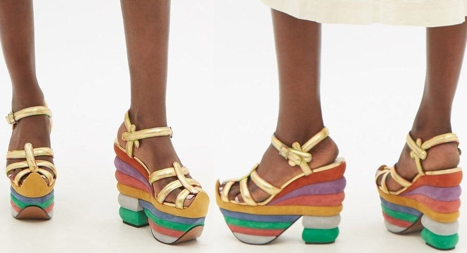 Italian shoe designer Salvatore Ferragamo designed these Rainbow sandals for Judy Garland in 1938