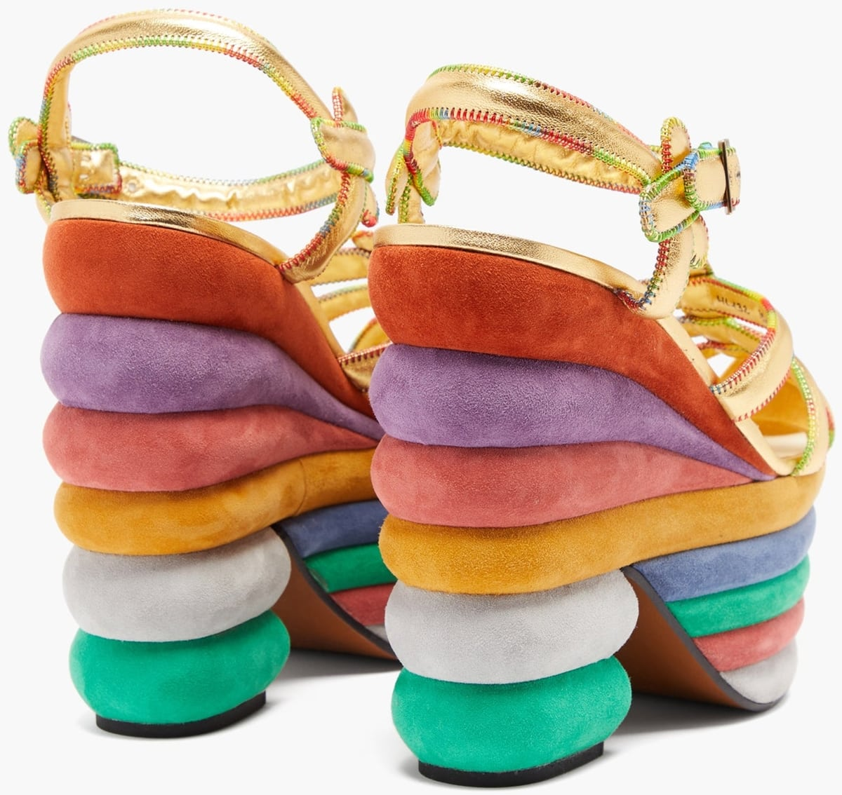 The cushiony multicolored suede layers forming the platform and block heel