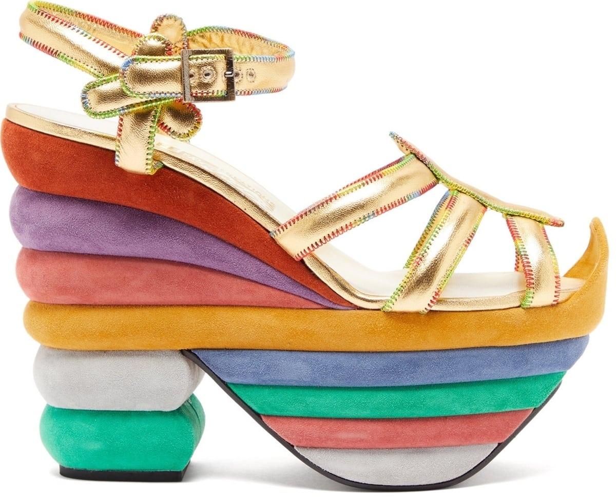 Salvatore Ferragamo's goatskin leather and suede Rainbow 1938 platform sandals