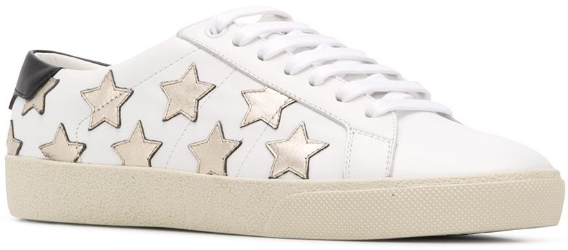 White leather and rubber Court Classic SL/06 metallic California sneakers from Saint Laurent with multiple star patches