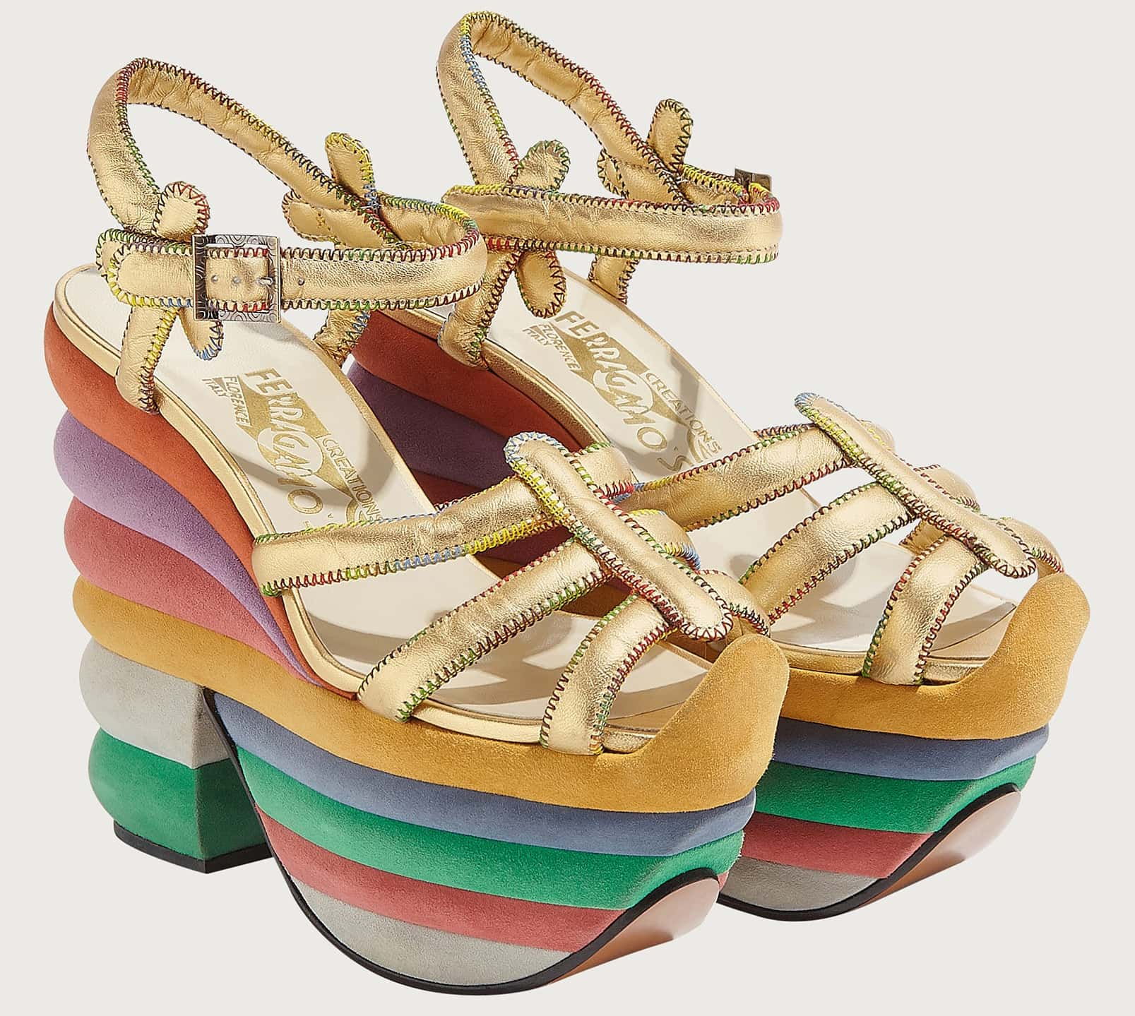 Created in 1938 for Judy Garland, Salvatore Ferragamo's Rainbow platform sandals feature shaped slabs of cork covered in colorful suede