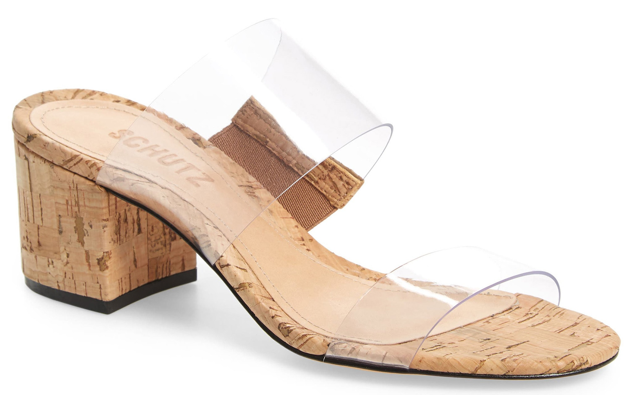 Schutz's Victorie slide sandal features minimalist clear straps with classic block heels in cork material