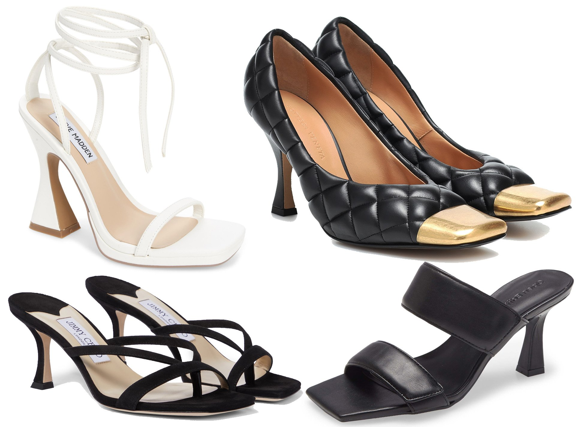 Named after the spool, spool heels have a curvy hourglass shape similar to French heels but higher