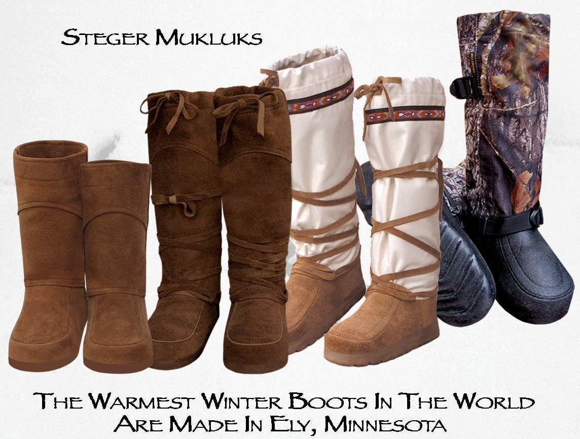 Steger Mukluks manufactures comfortable winter boots and moccasins in Ely, Minnesota