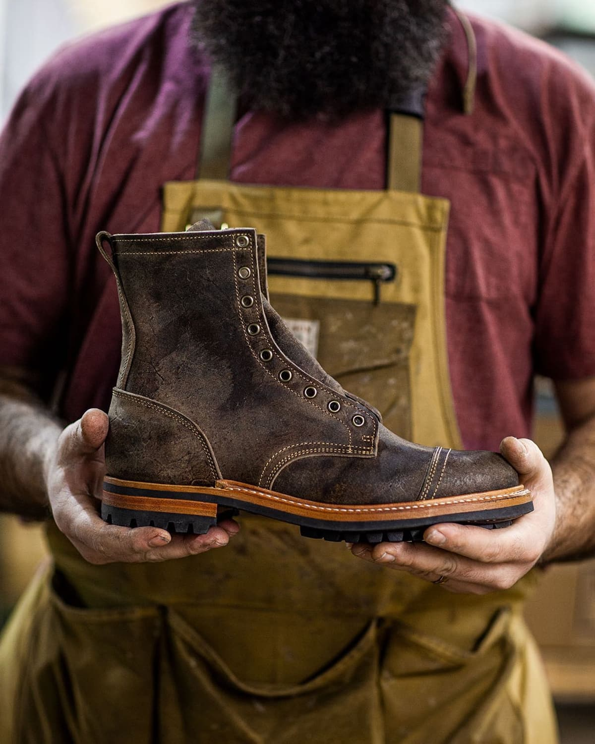 This Rambler boot is made in Eugene, Oregon, using leather from Charles F. Stead tannery in Leeds, UK