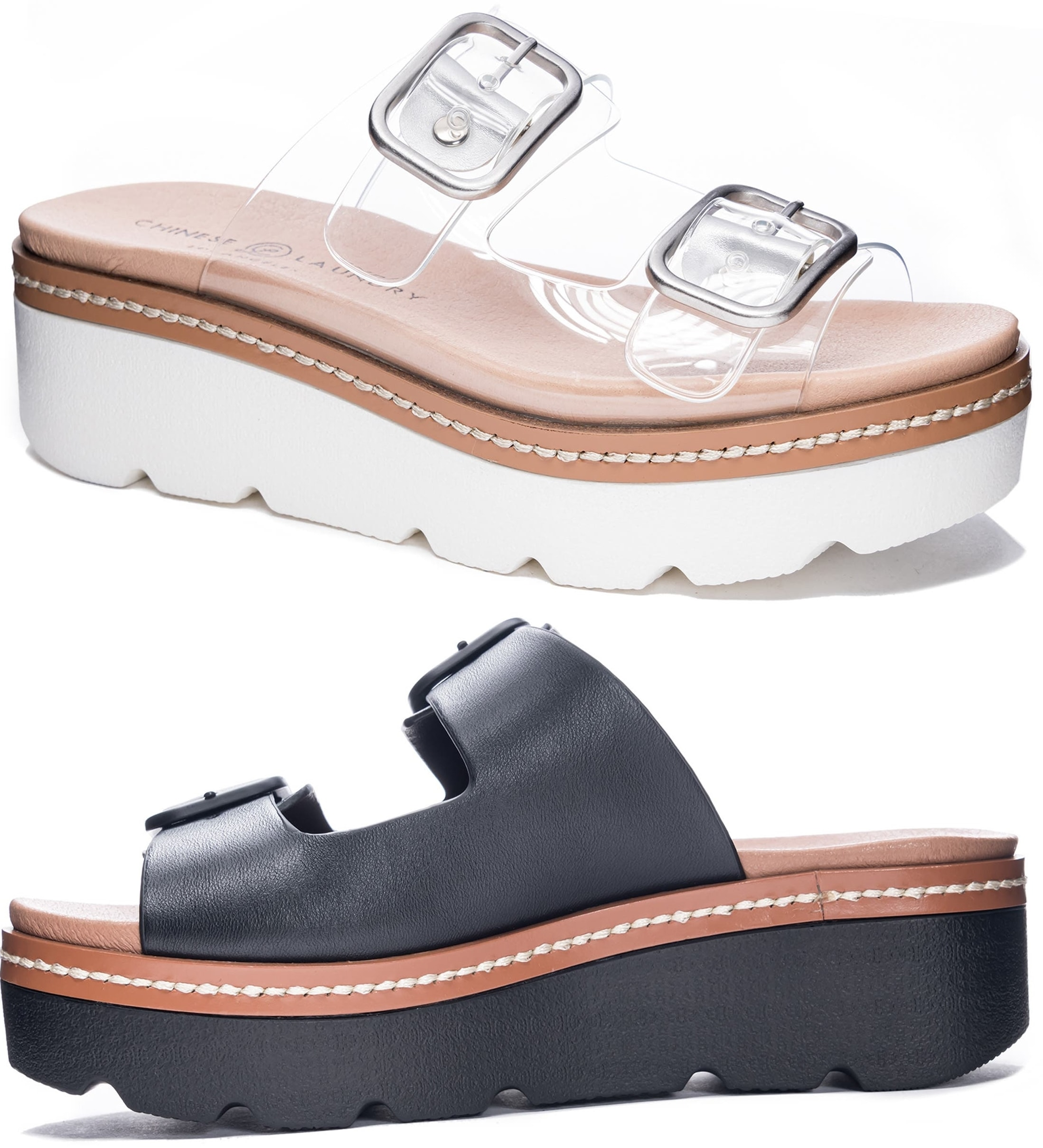 Chinese Laundry's Surfs Up buckled flatform sandal provides comfortable upport with a contoured footbed
