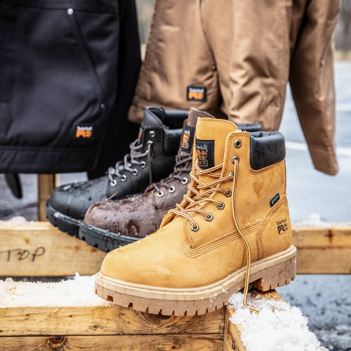 Timberland's waterproof Pro boots are adapted for work-site survival