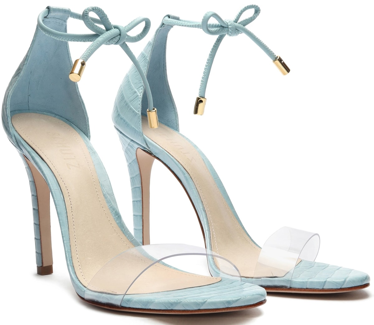 Blue high heel lace-up strappy sandal with clear toe strap and long ankle tying laces