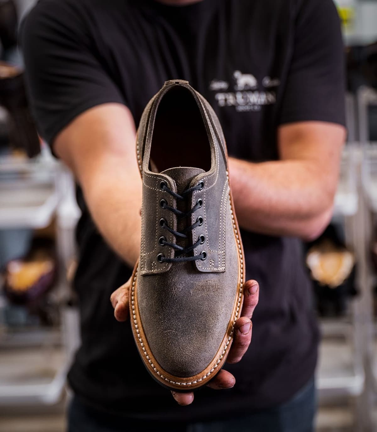 This Gray Waxy Rough Out derby shoe and all other shoes from Truman Boot Co. are created in Eugene, Oregon entirely by hand