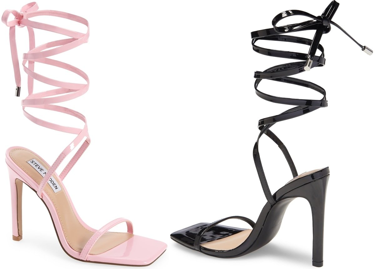 High style is all tied up in this high stiletto heel sandal from Steve Madden with long winding laces and an on-trend square toe