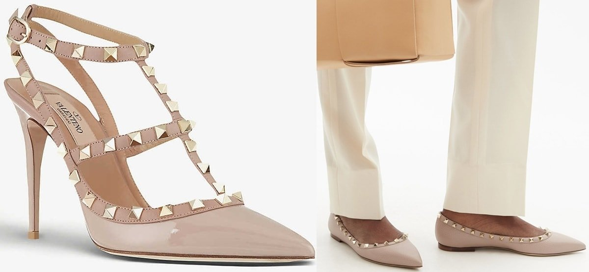 Valentino Garvani So Noir Rockstud patent-leather heeled sandals and point-toe leather ballet flats