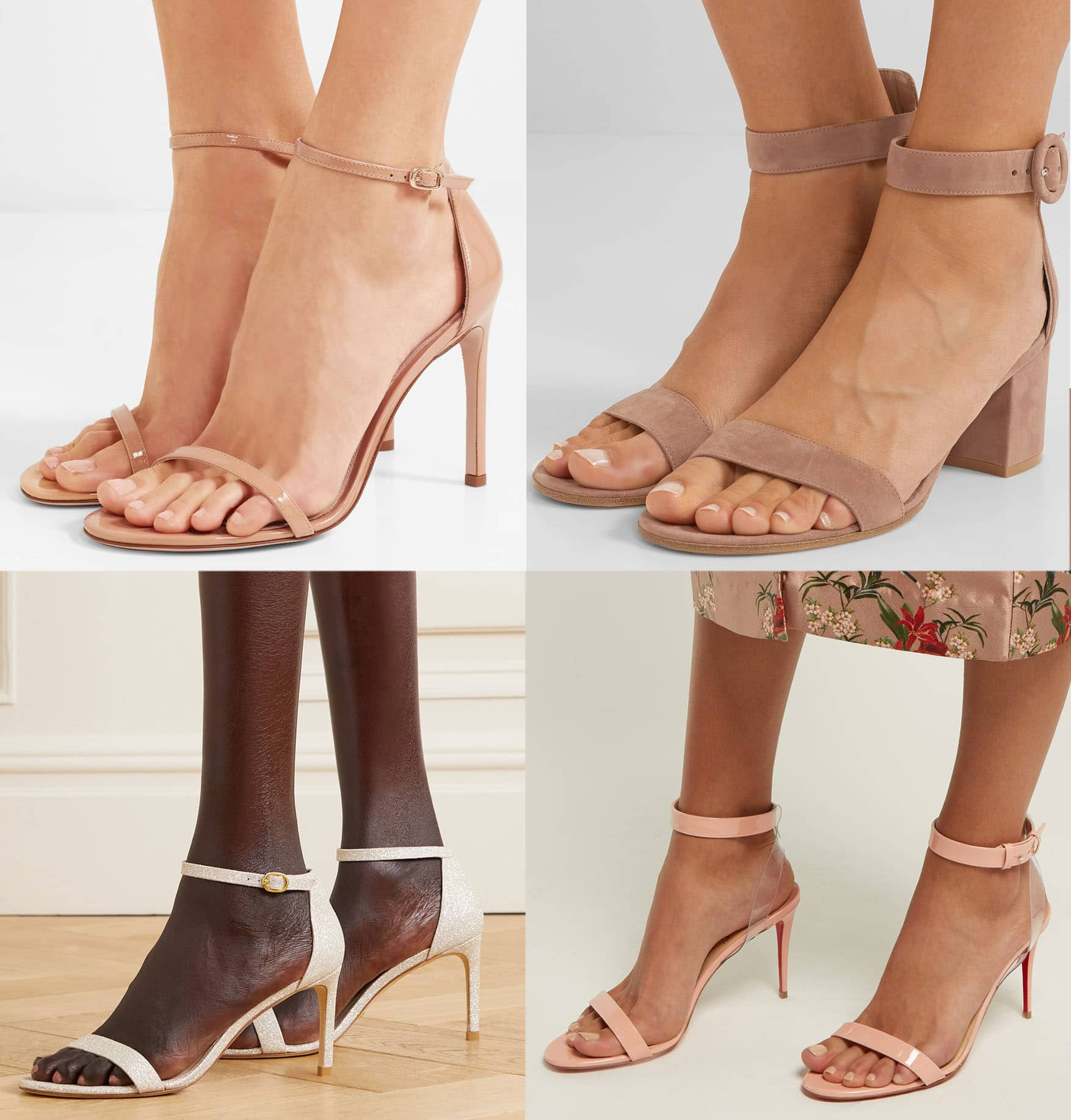 Choose ankle-strap sandals with leather fabric straps that you can punch holes into for any needed adjustments