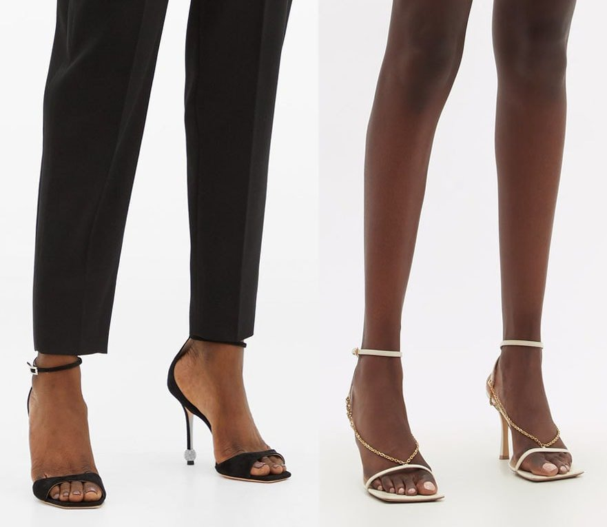 Aside from purchasing the right size of ankle-strap heels, sandals with wider or square toes should prevent overhanging toes