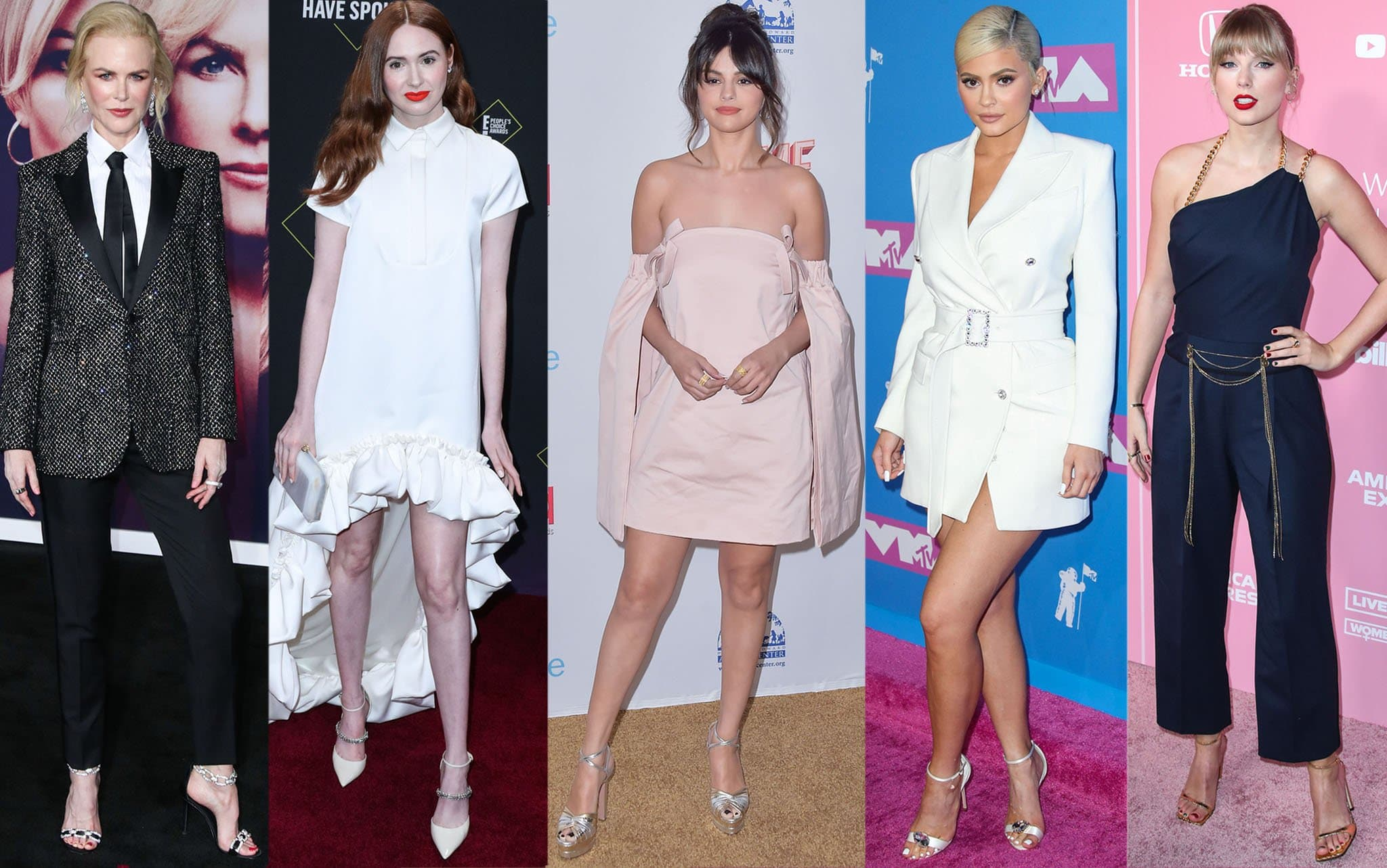 Nicole Kidman, Karen Gillan, Selena Gomez, Kylie Jenner, and Taylor Swift show how to wear ankle strap sandals to avoid looking shorter