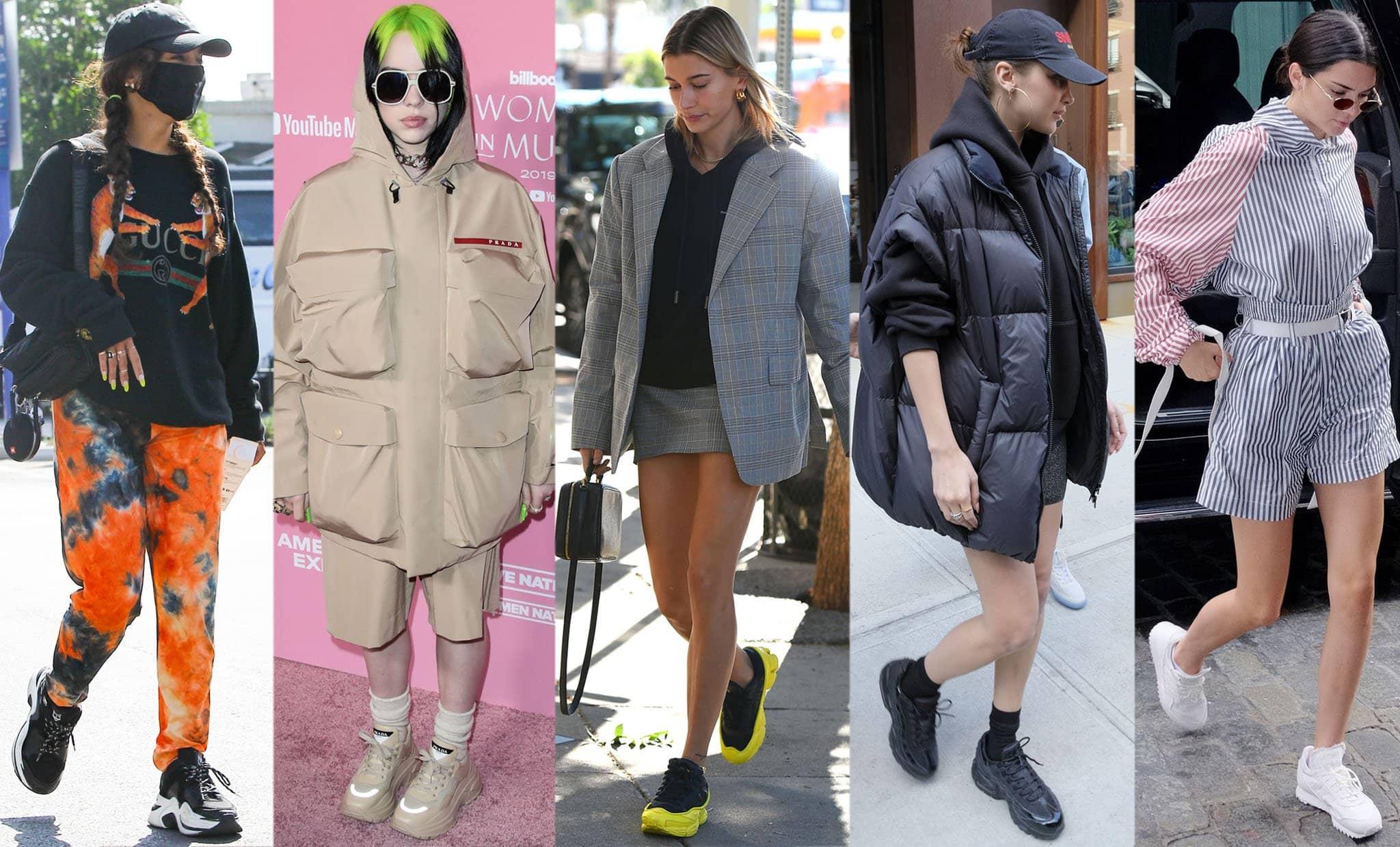 Vanessa Hudgens, Billie Eilish, Hailey Bieber, Bella Hadid, and Kendall Jenner wearing chunky sneakers