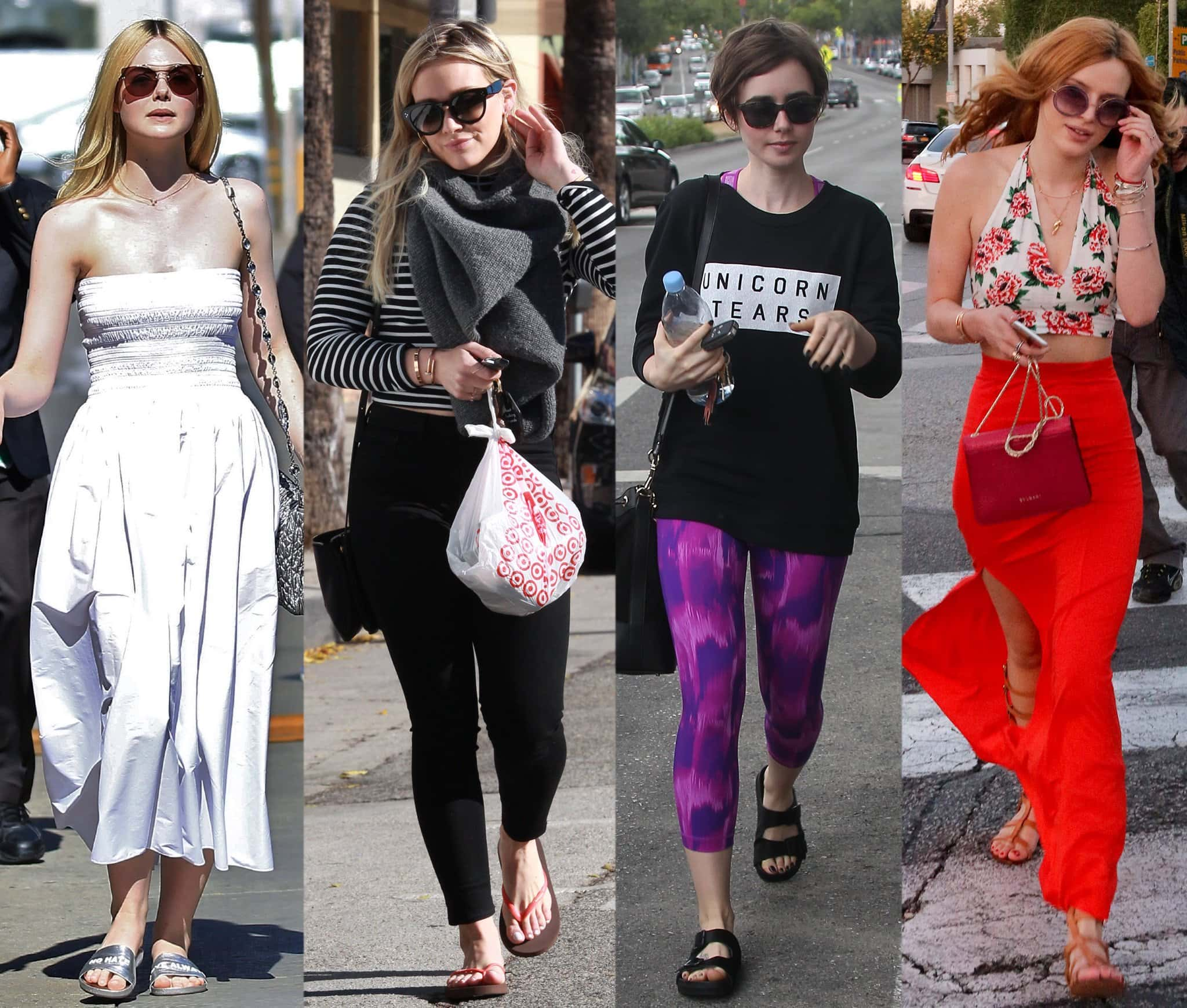 Elle Fanning, Hilary Duff, Lily Collins, and Bella Thorne wearing comfy summer sandals