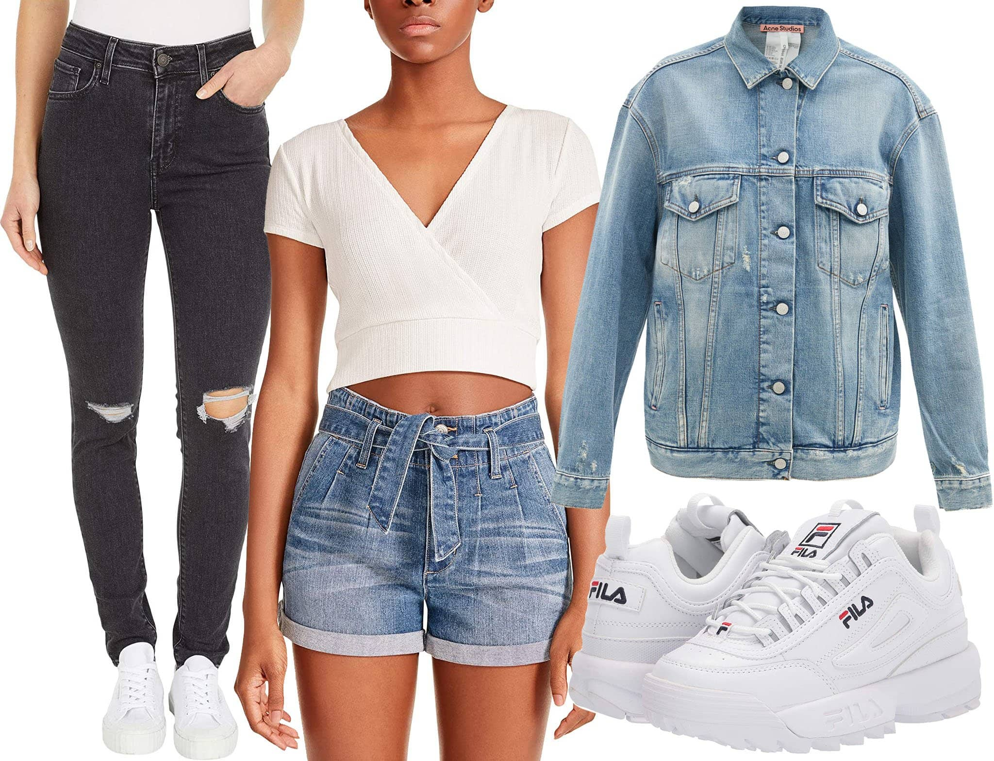 Levi's 721 High-Rise Skinny Jeans, Madden Girl Cropped Wrap Top, Acne Studios Oversized Distressed Denim Jacket, Fila Disruptor II Premium Sneakers