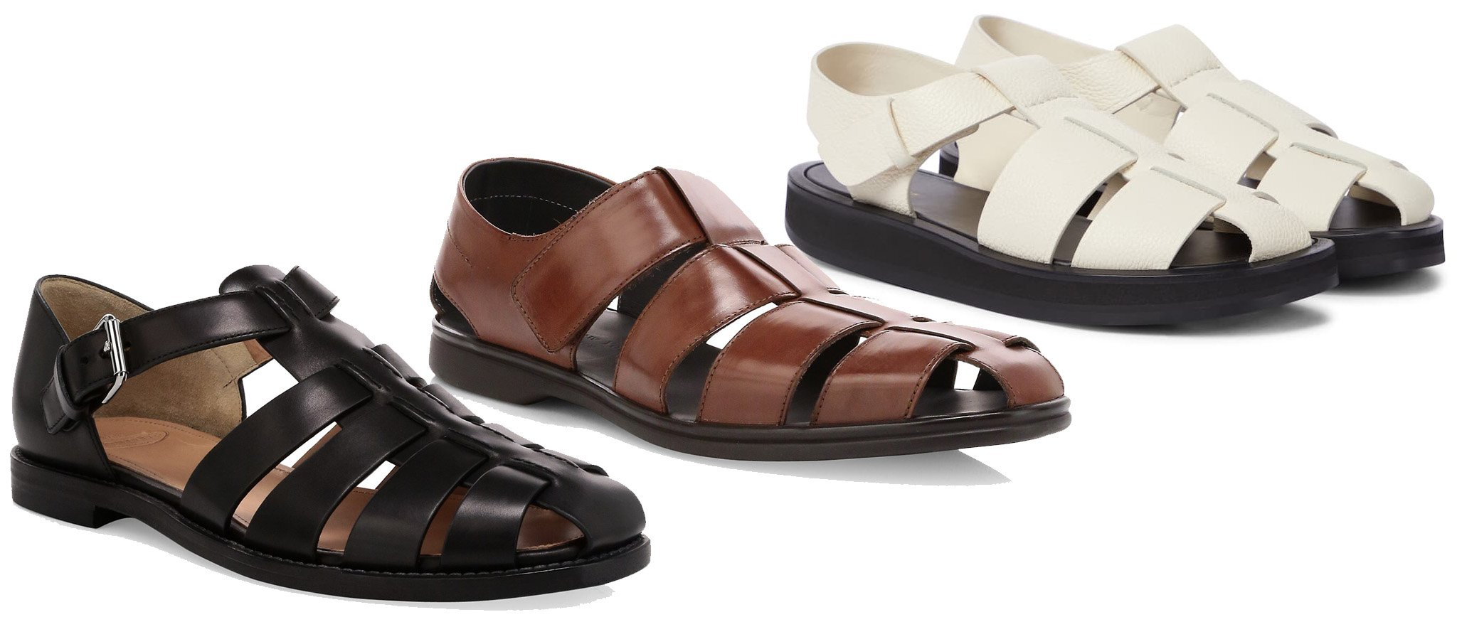 Church's Leather Fisherman Sandal, To Boot New York Santorini Fisherman Sandal, The Row Fisherman Leather Sandal
