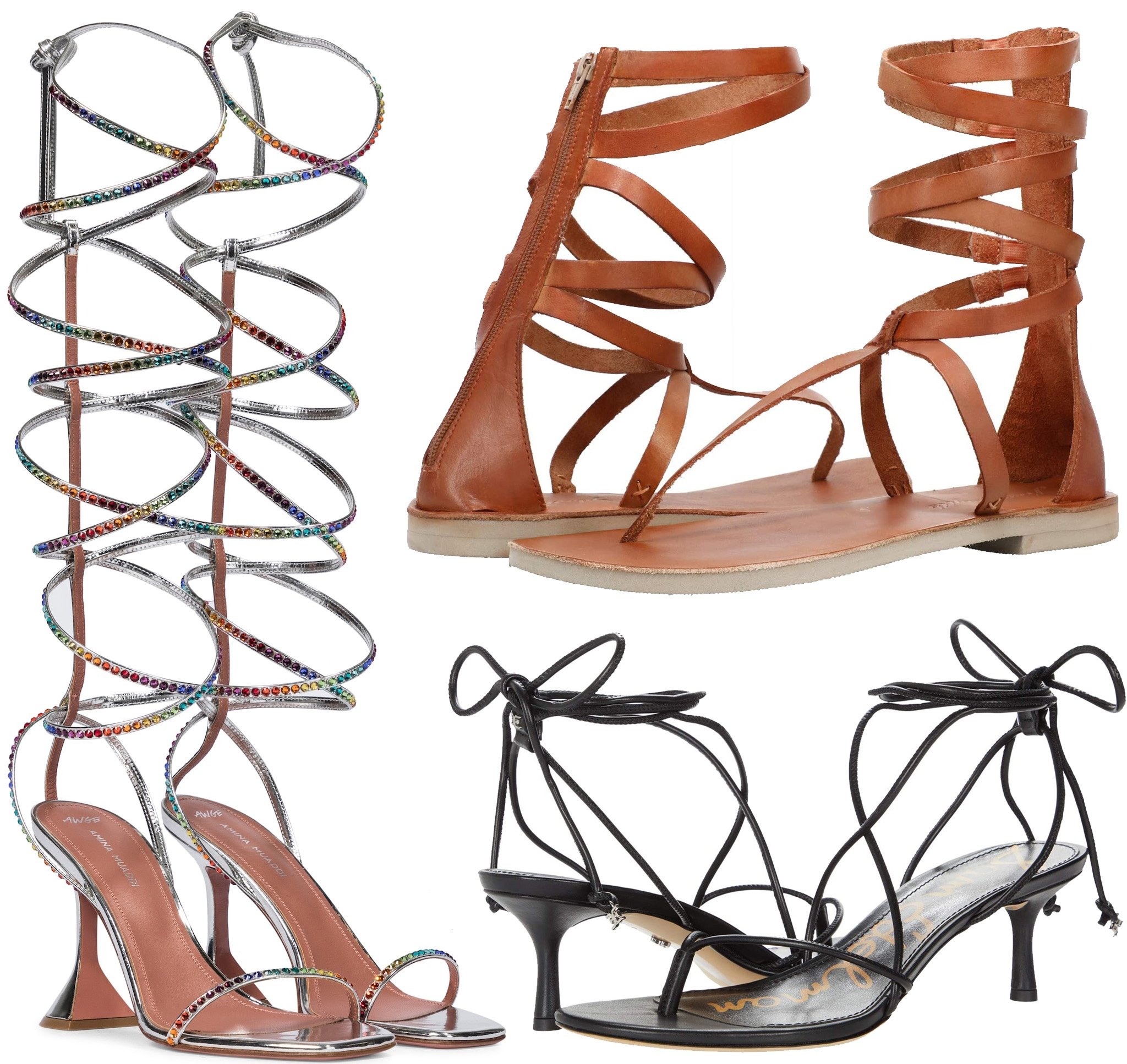 Amina Muaddi x AWGE LSD Embellished Leather Sandals, Free People Anya Gladiator Sandals, Sam Edelman Jamila Sandals