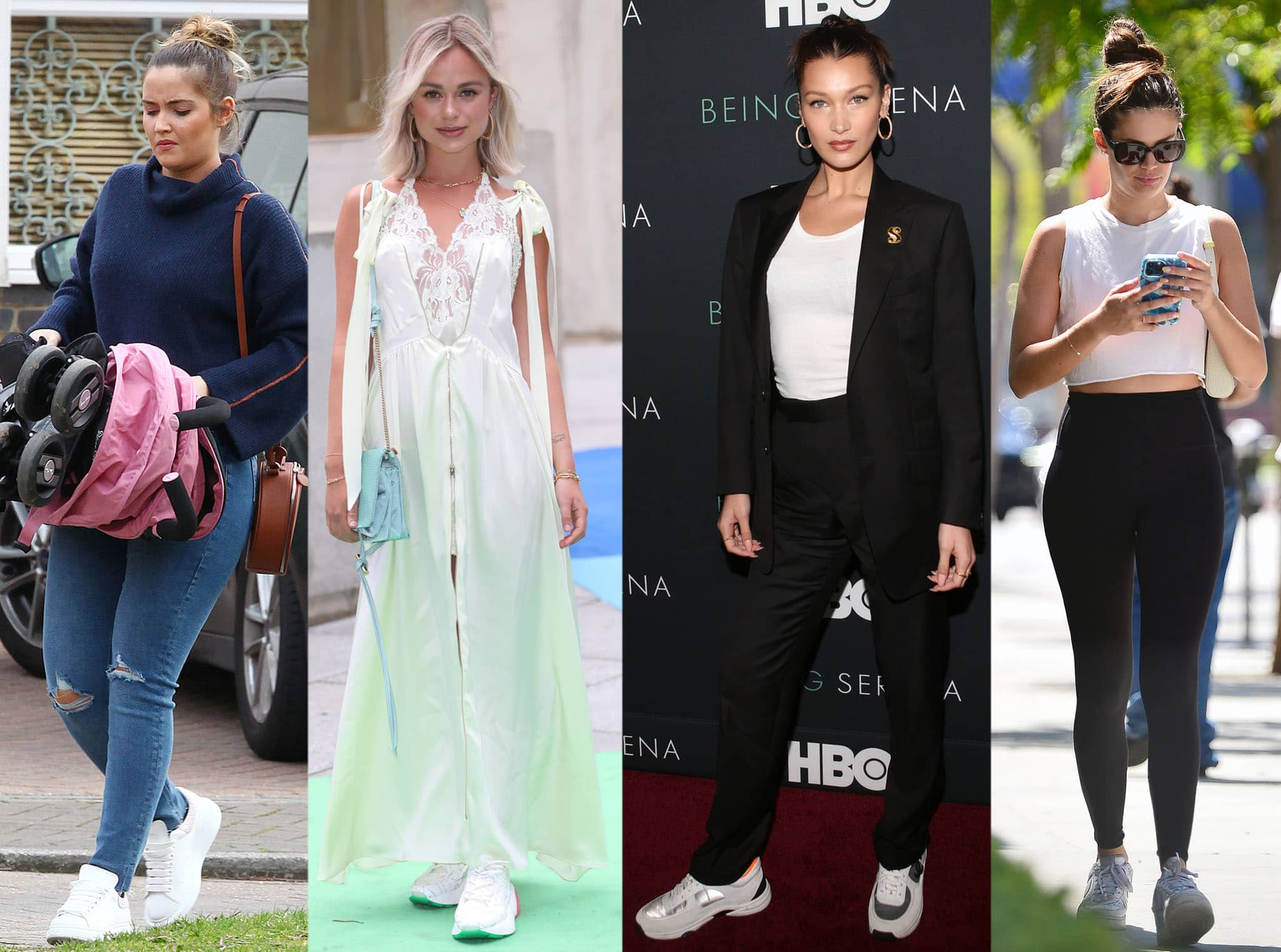 Jacqueline Jossa, Lady Amelia Windsor, Bella Hadid, and Sara Sampaio show different ways on how to wear chunky sneakers