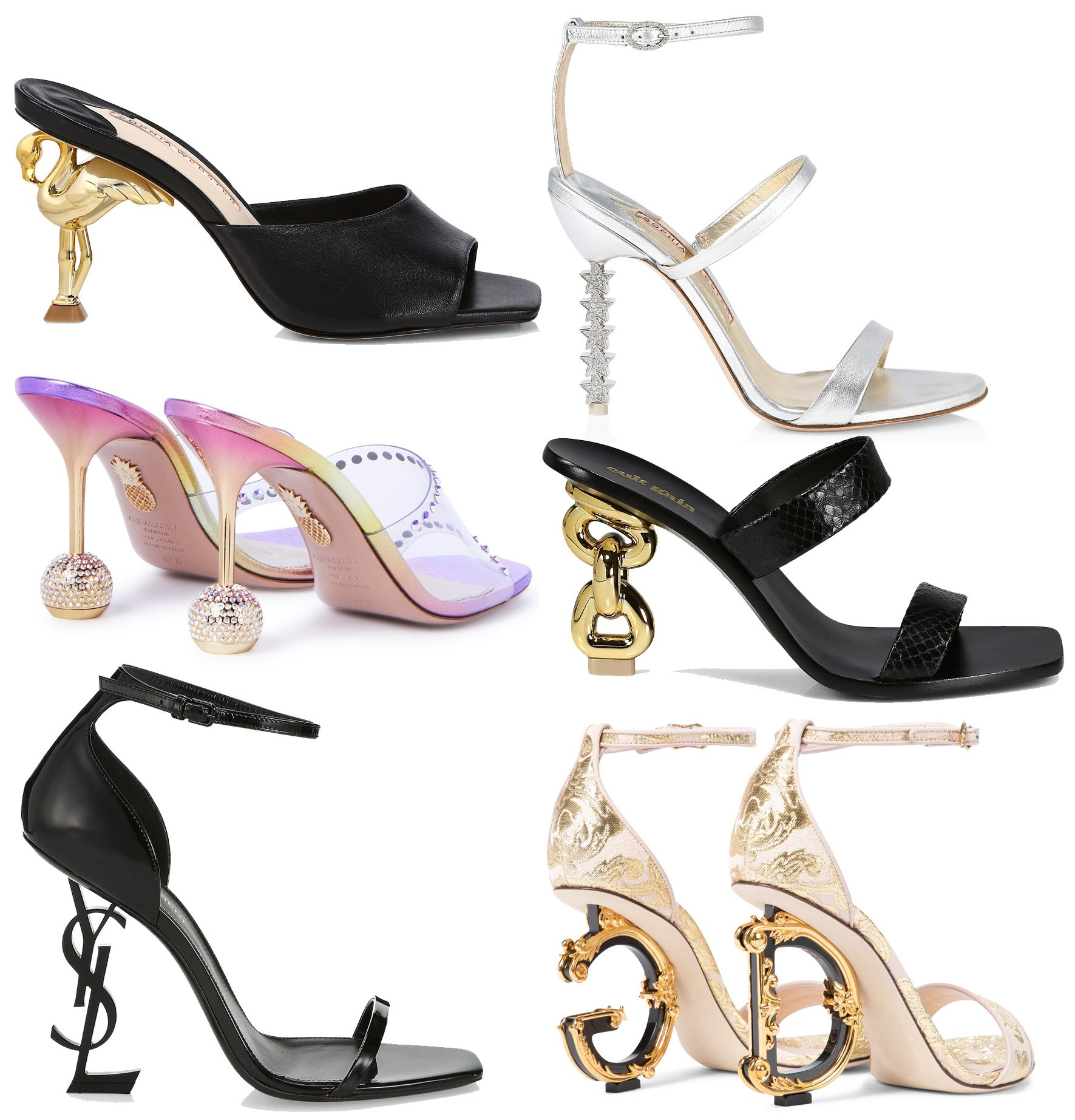 Wear intricately designed heels for a statement-making look