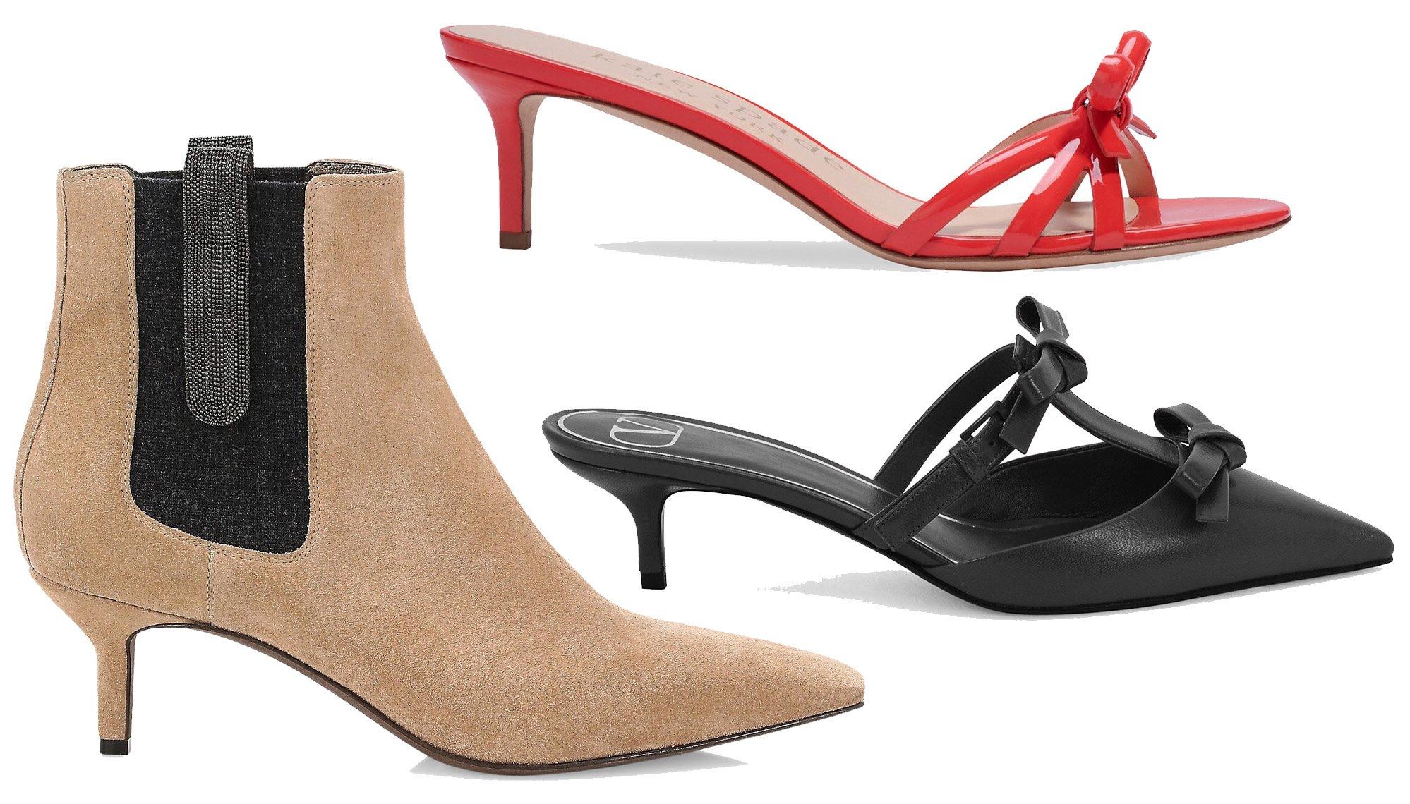 Short thin heels define kitten heels that are usually seen in taller women