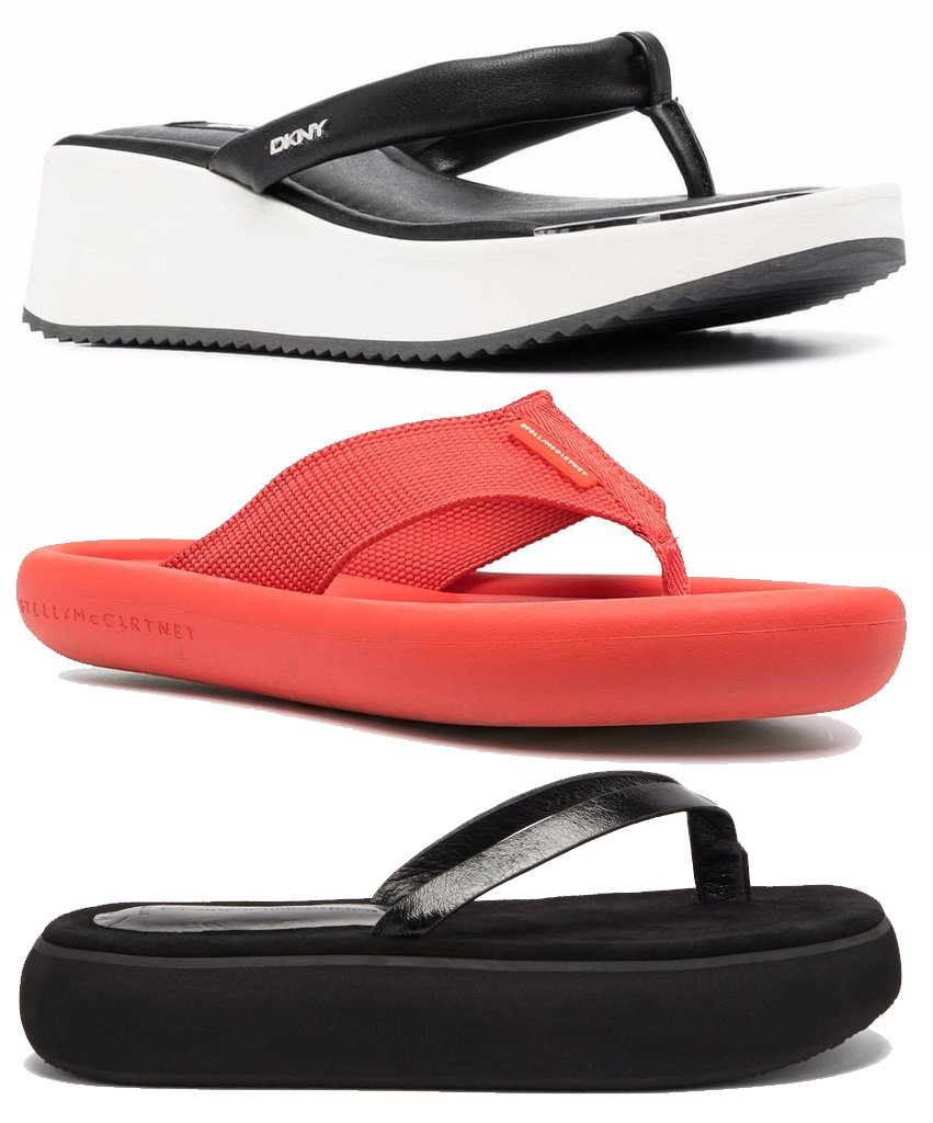 DKNY Platform Leather Flip Flops, Stella McCartney Tubular-Sole Flip Flops, Osoi Boat Leather Platform Flip Flops