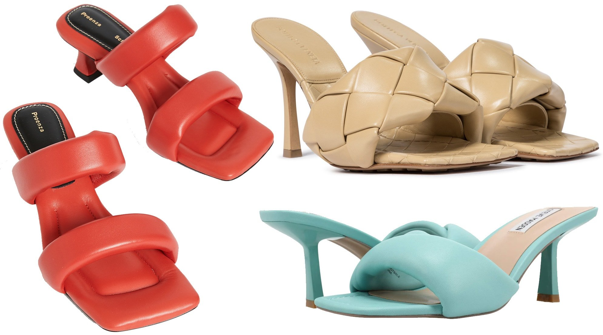 Proenza Schouler Square Toe Red Mule Sandals, Bottega Veneta BV Lido Beige Lamb Leather Sandals, Steve Madden Thai Heeled Turquoise Sandals