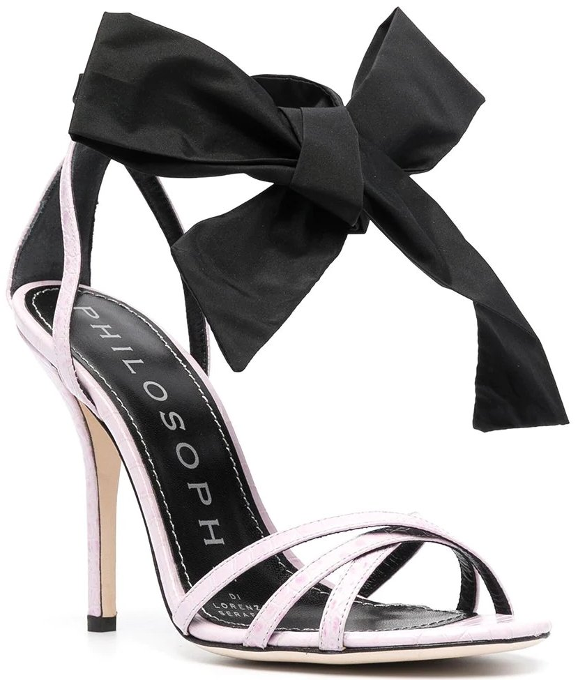 These high heel sandals are enhanced by the maxi ribbon bow tied at the ankle