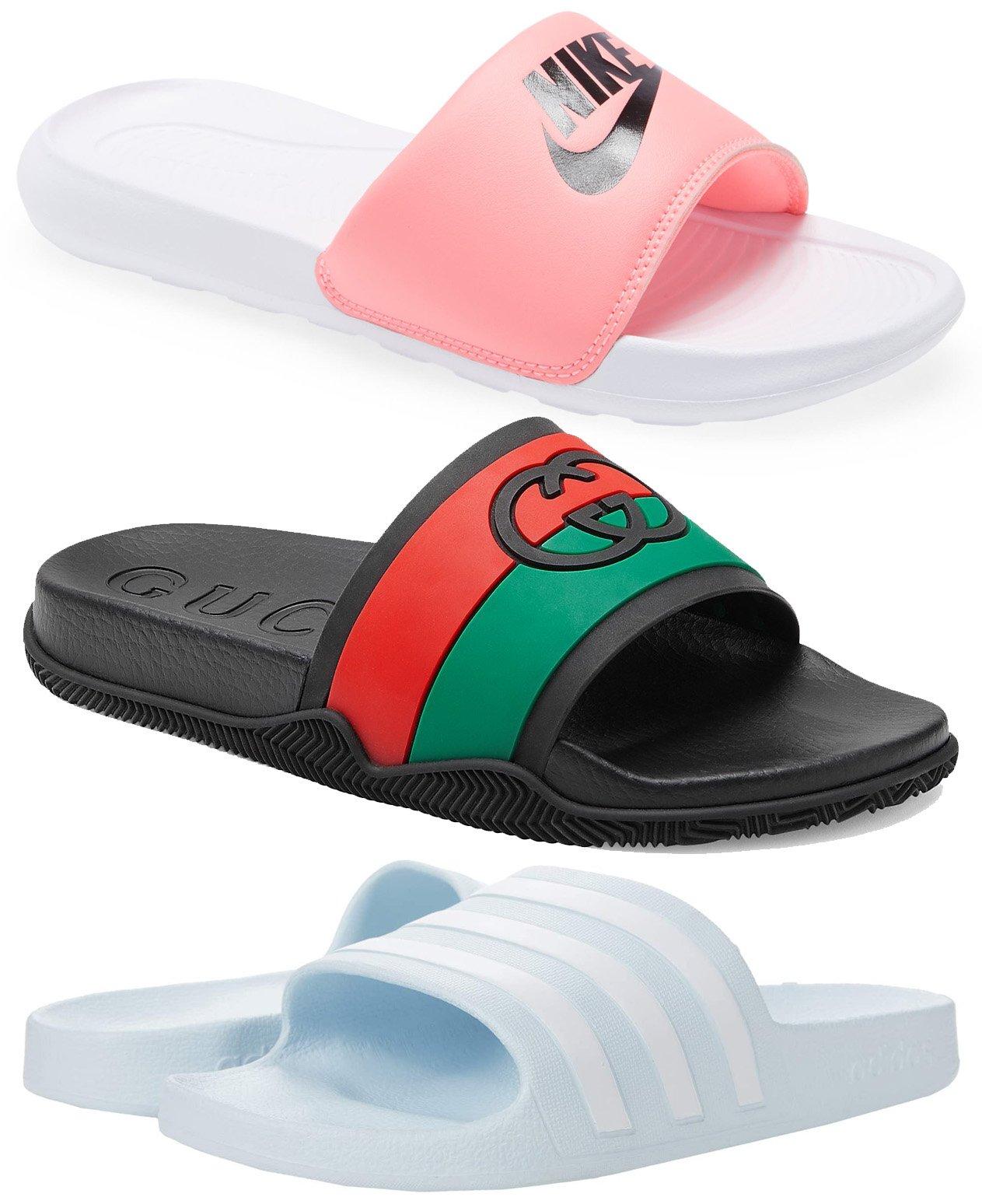 Nike Victori Slide Sandal, Gucci Agrado Interlocking G Slide Sandal, Adidas Adilette Aqua Slides