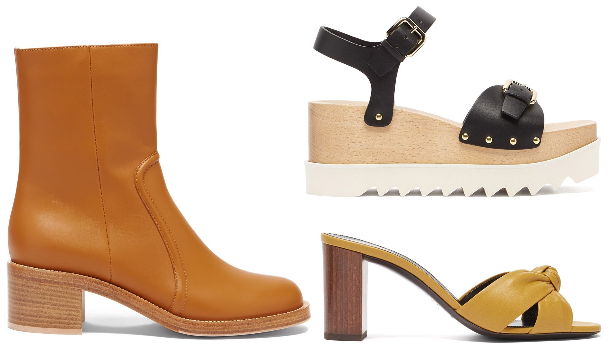 Wooden heels are not only durable but they are also lightweight and provide stability