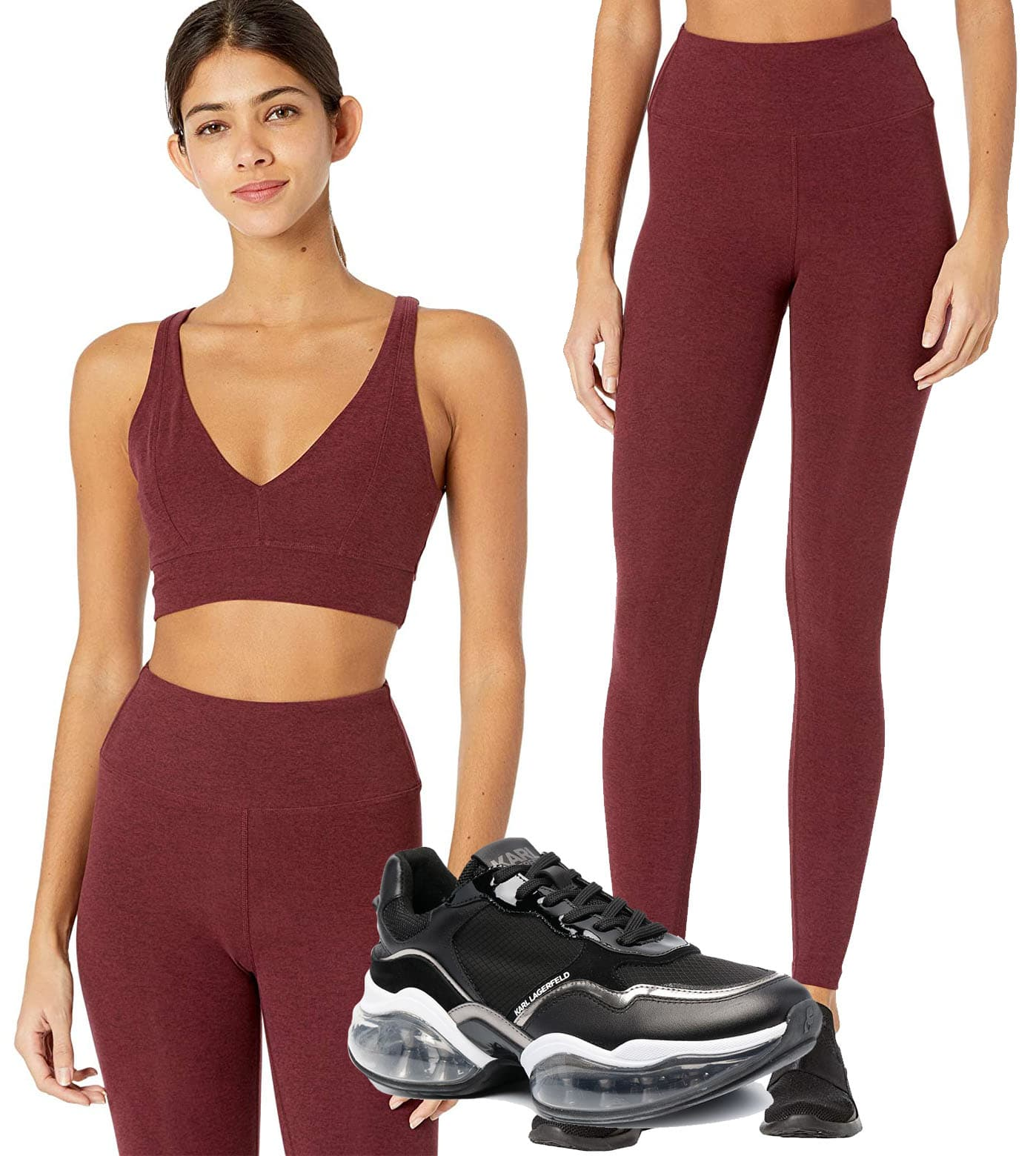 Year of Ours Heather V-Bra, Year of Ours Yoga Leggings, Karl Lagerfeld Ventura 2 Chunky Sneakers