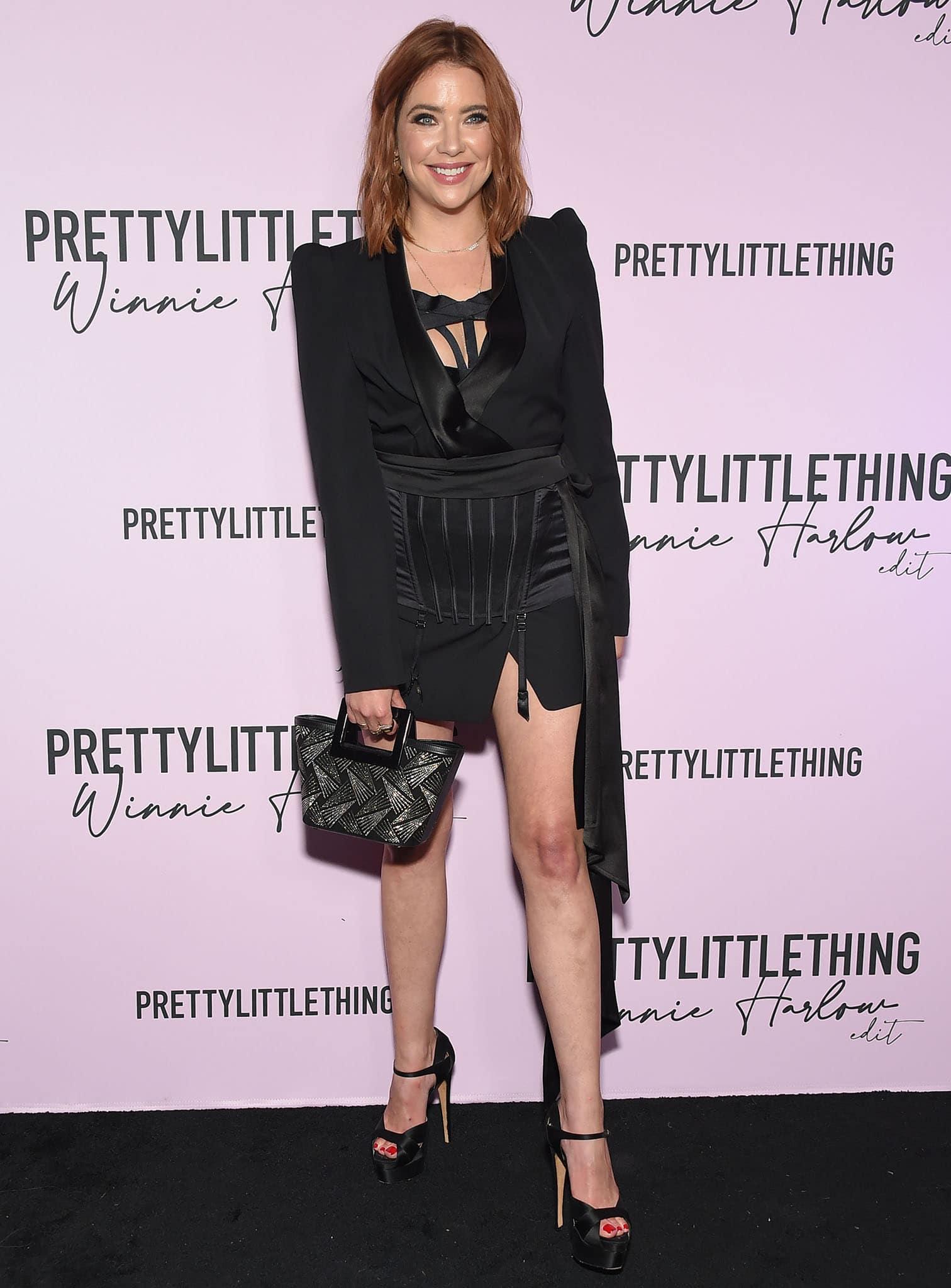 Ashley Benson wears La Perla lingerie with Alexandre Vauthier blazer dress and mini skirt