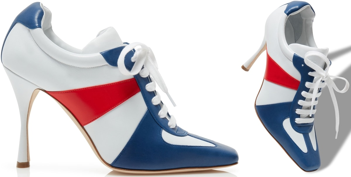 """Blue, white, and red Manolo Blahnik 105mm """"Bandiera"""" tricolor leather sporty booties"""