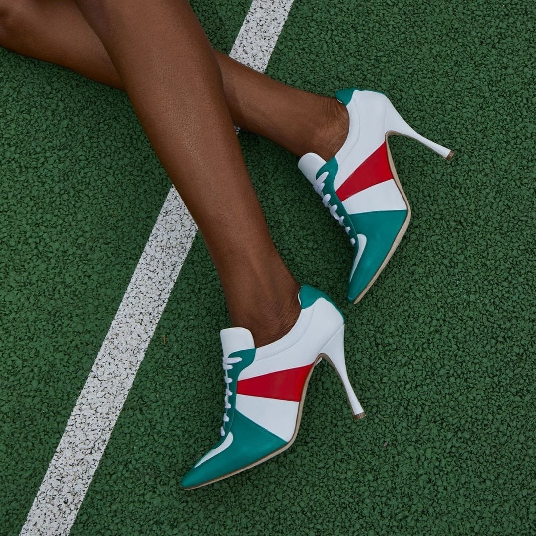 """Green, white, and red Manolo Blahnik 105mm """"Bandiera"""" tricolor leather sporty booties"""