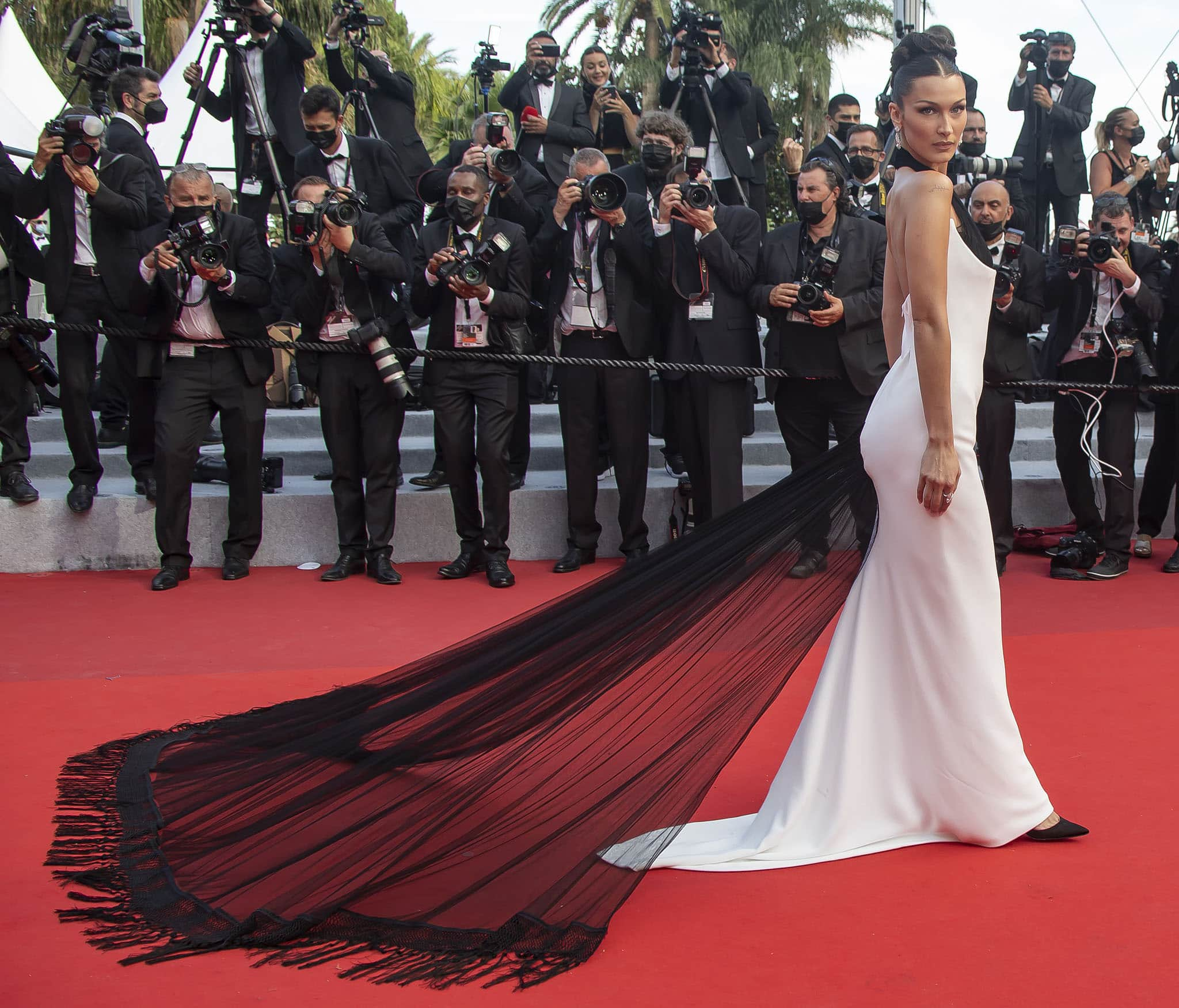 Bella Hadid at the opening night and screening of Annette at the 74th Cannes Film Festival on July 6, 2021