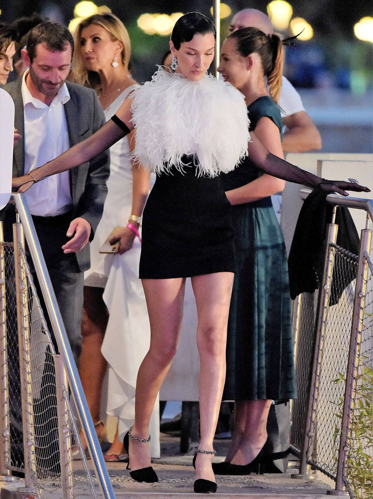 Bella Hadid stuns in her '80s-style Lanvin feathered mini dress