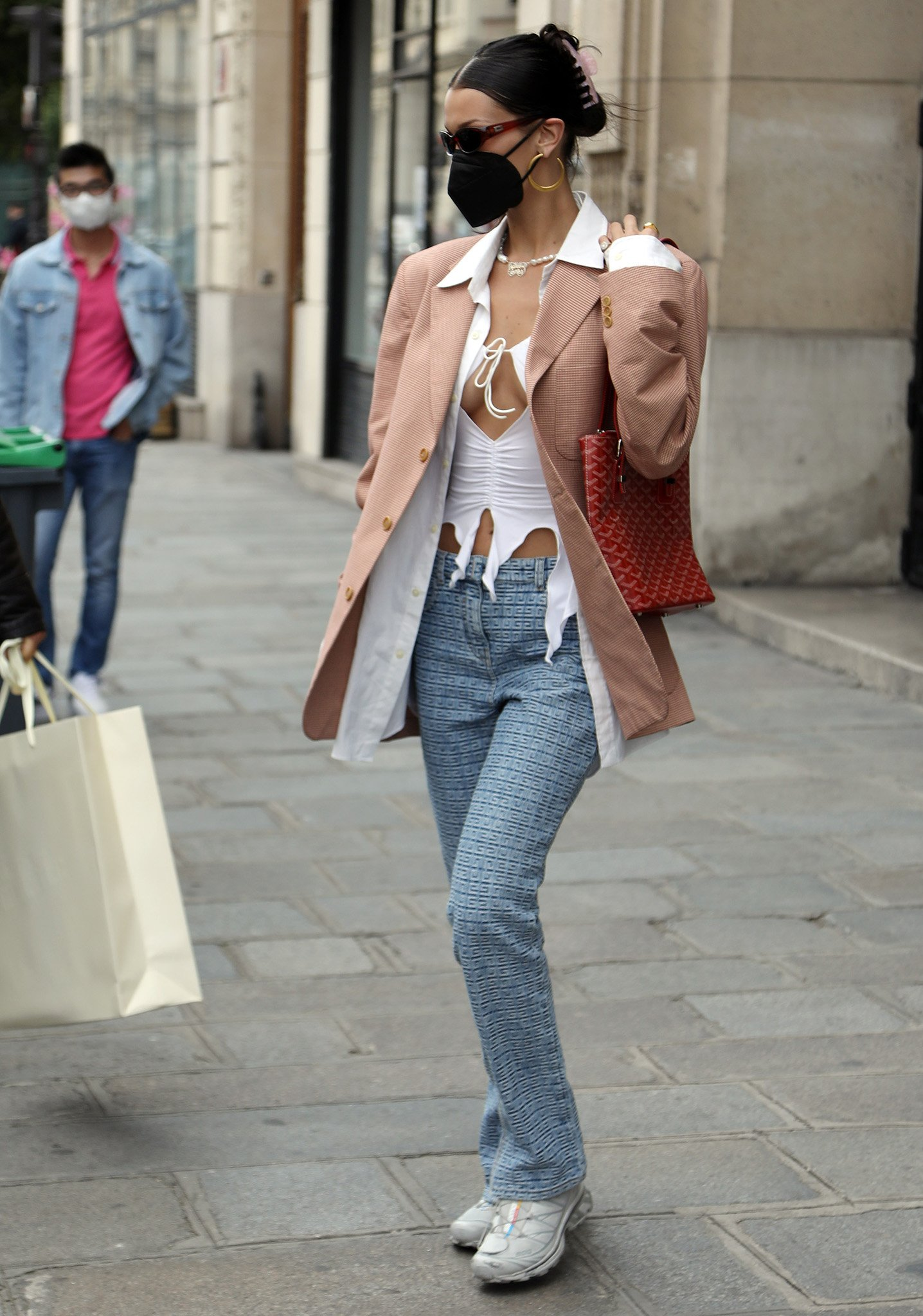 Bella Hadid goes shopping at The Broken Arm and at Jean-Paul Gaultier stores in Paris on July 1, 2021
