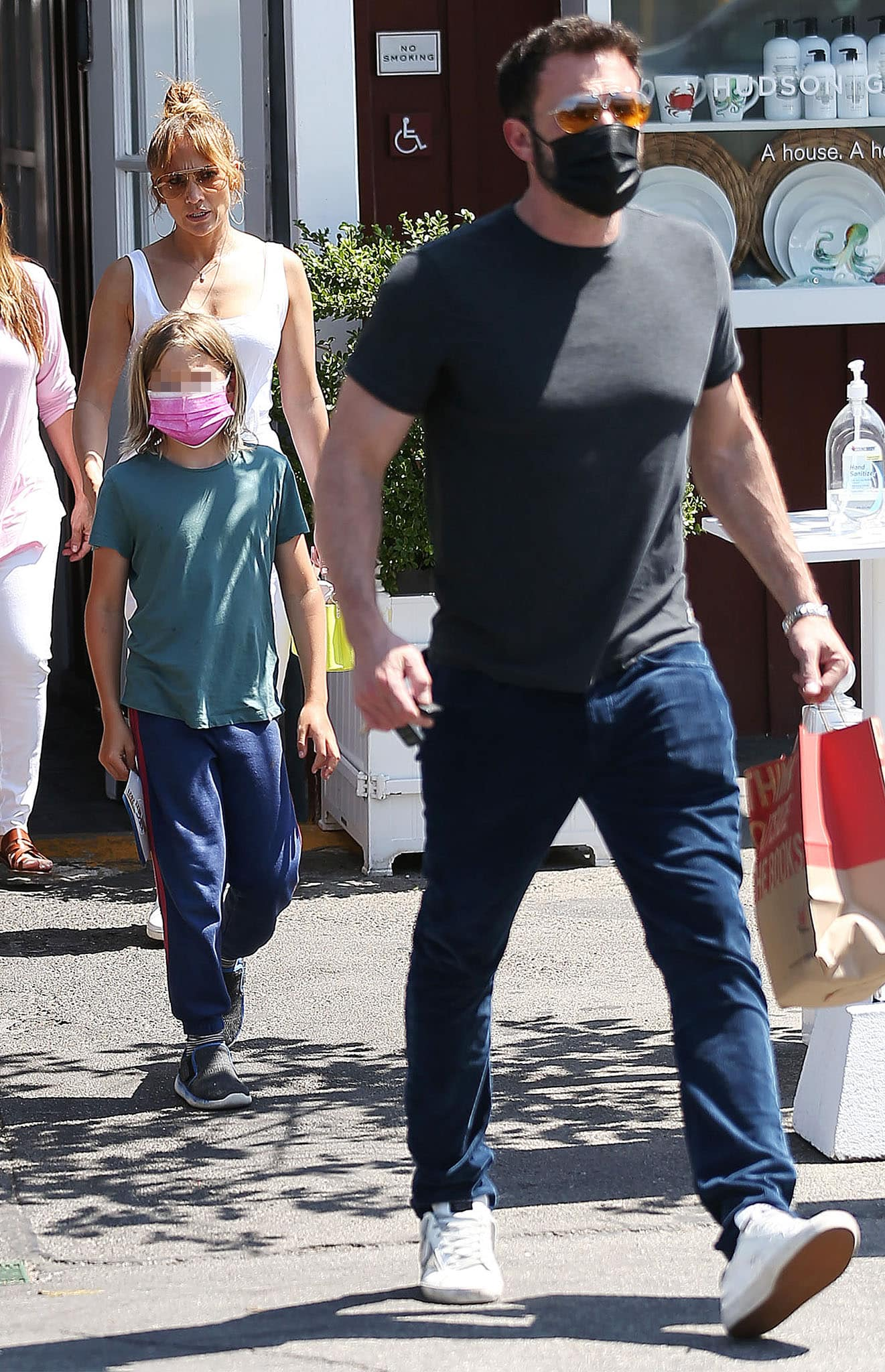 Ben Affleck and his son, Samuel, both opt for plain t-shirts with blue pants
