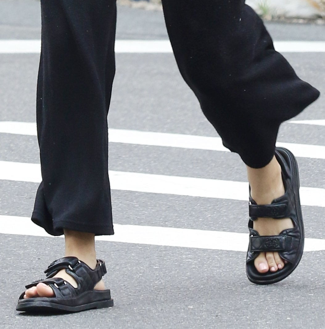 Blake Lively completes her chic laidback outfit by showing off her feet in Chanel chunky dad sandals