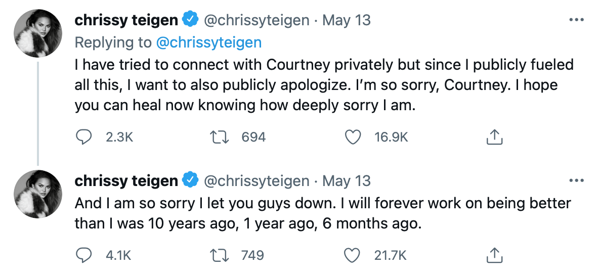 Chrissy Teigen tweets her apology to Courtney Stodden for past bullying issue